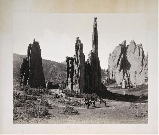 'Cathedral Spires, Garden of the Gods, Colorado' Doesn't look very garden-y, does it? Photo by William Henry Jackson 1879 {{PD}}     Date 1869/1879