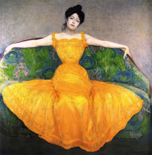 Max Kurzweil 1899 Mujer con un vestido amarillo (Woman in a yellow dress) {{PD}}