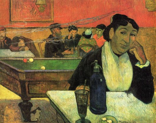 Libra, you may feel alone, even in a crowd. Night Café at Arles, (Mme Ginoux) 1888 Paul Gauguin {{PD}}