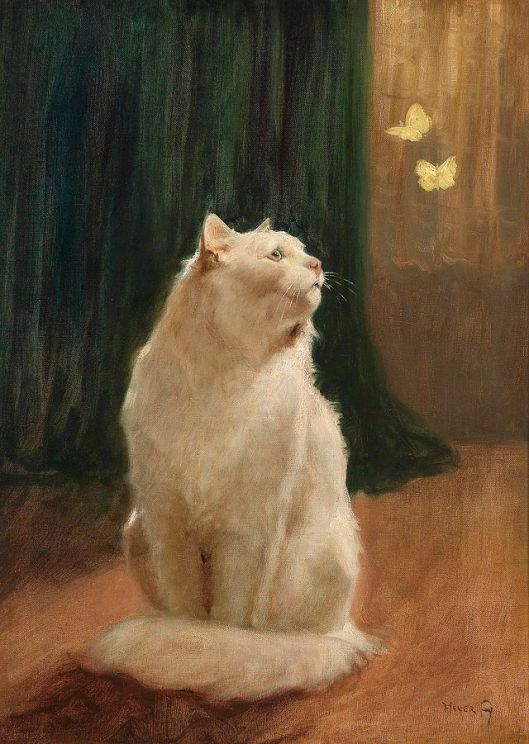 """White cat and two yellow butterflies' Arthur Heyer early 20th century {{PD}}"