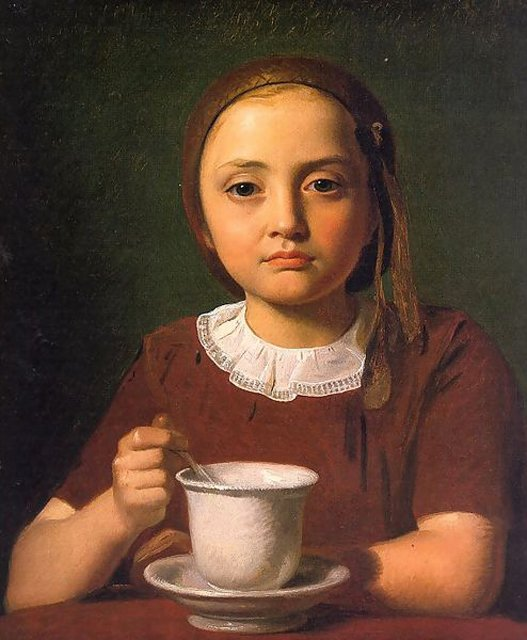 Constantin Hansen 'Portrait of a Little Girl, Elise Købke, with a Cup in front of her' {{PD}}