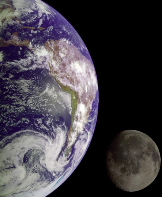 Earth and her Moon taken by the Galileo probe 1990 NASA {{PD}}