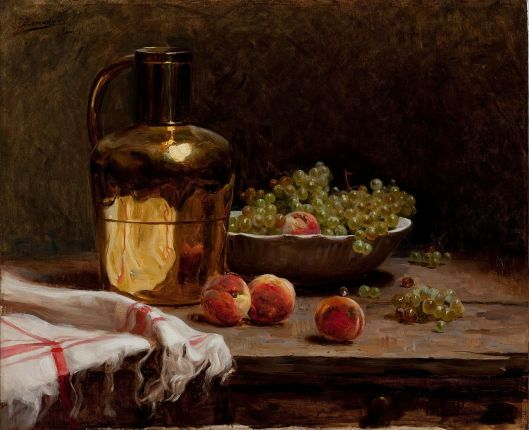 Pedro Alexandrino Borges  'Still life - Grapes and Peaches' {{PD}}