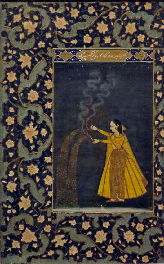Go ahead, Libra, live it up! 'Woman Holding Fireworks', India, Artist unknown 19th century {{PD}}