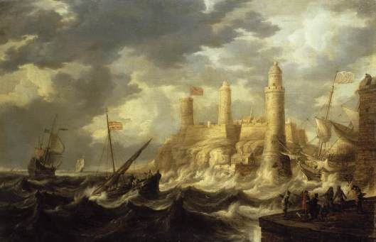 Don't let a too-emotional outlook take you off course, Sag. Bonaventura Peeters - 'Fortified Harbour' c1646 {{PD}}