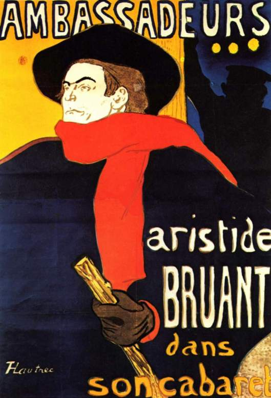 Henri de Toulouse-Lautrec, 'Ambassadeurs: Aristide Bruant dans son cabaret' 1892 {{PD}}