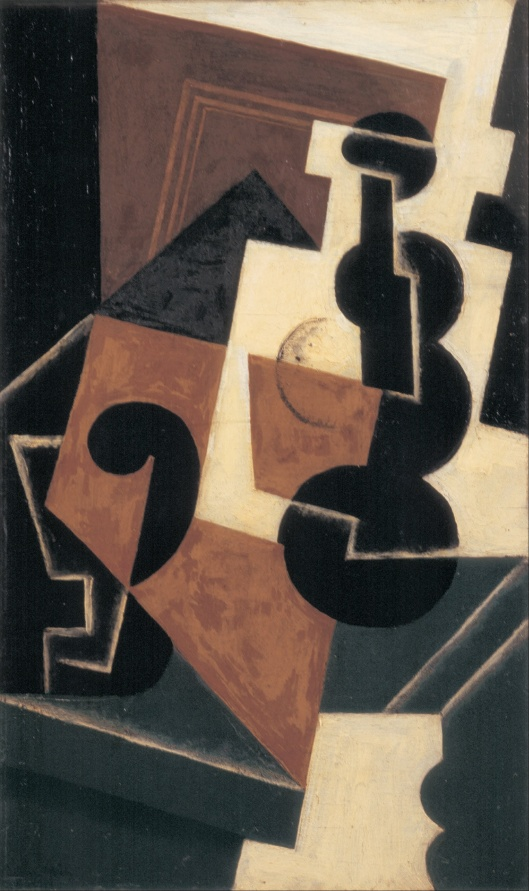 You won't have to water ambitions down, if you'll just wait a little. Juan Gris  'Glass and Water Bottle' 1917 {{PD}}