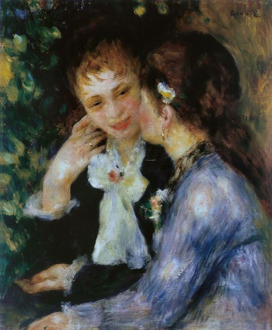 It's all about communicating emotion for Moon in the 3rd. Pierre-Auguste Renoir - 'Confidences' {{PD}}