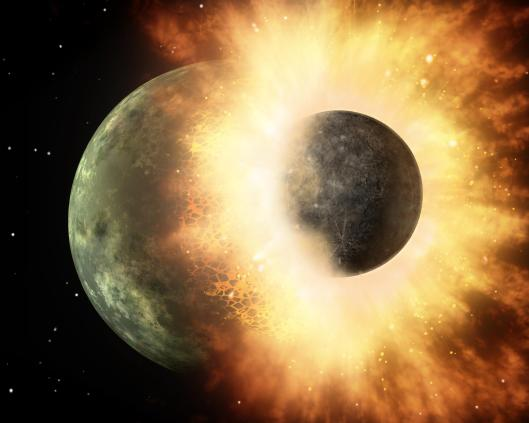 This artist's conception shows a celestial body about the size of our moon slamming at great speed into a body the size of Mercury. NASA's Spitzer Space Telescope found evidence that a high-speed collision of this sort occurred a few thousand years ago around a young star, called HD 172555, still in the early stages of planet formation. The star is about 100 light-years from Earth. Narrative from the Wikimedia site. NASA {{PD}}