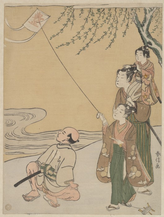 What seemed like just a pastime before gains big meaning for you this year, Sag. Woodblock print of kite flying by Japanese artist Suzuki Harunobu (鈴木 春信) from the Edo period 1766 {{PD}}
