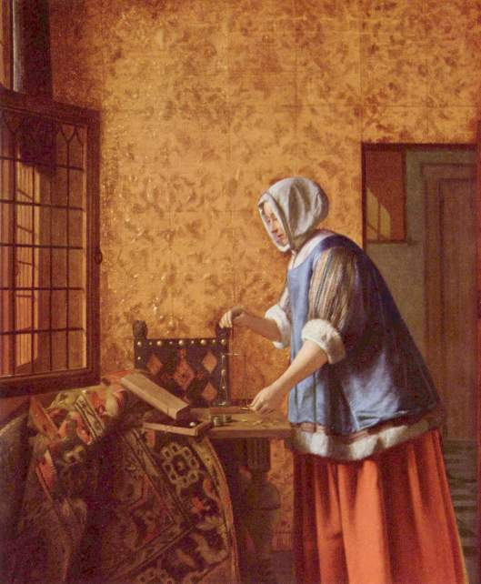 You may feel a little like your Cardinal compadre Libra during the early part of this coming year, Cappy, as you deal with dual matters, each of which wants your attention. Pieter de Hooch {{PD}}