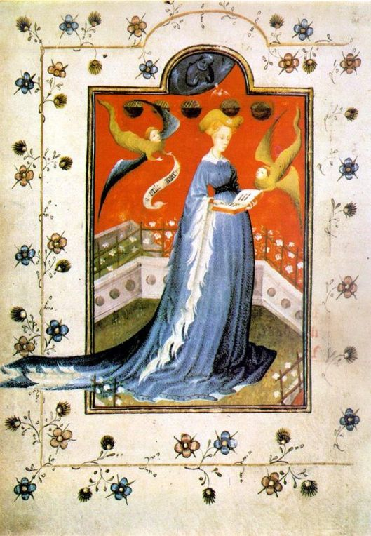 Visits by winged sprites are unlikely, Cappy, but you never know. Maria d'Harcourt et d'Aumale, wife of Reinald IV, Duke of Guelders and Jülich, in a houppelande, fol 19 of the Breviary of Marie de Gueldres c1415 {{PD}}