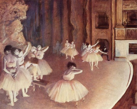 Setting the stage needn't be quite this literal, Aquarius. Dancers by Edgar Germain Hilaire Degas 1873 {{PD}}
