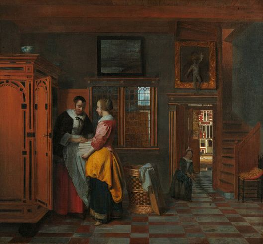 Take your time, Capricorn. Pieter de Hooch -' At the Linen Closet' 1663 {{PD}}