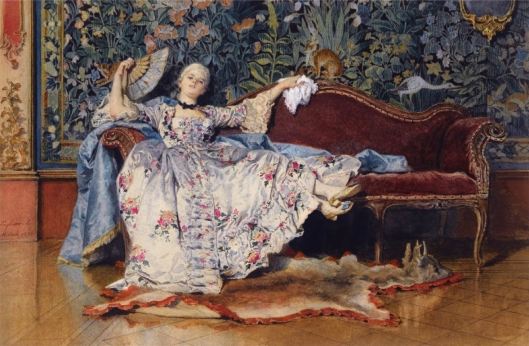 'A Reclining Lady with a Fan' Eleuterio Pagliani (1826-1903) {{PD}}