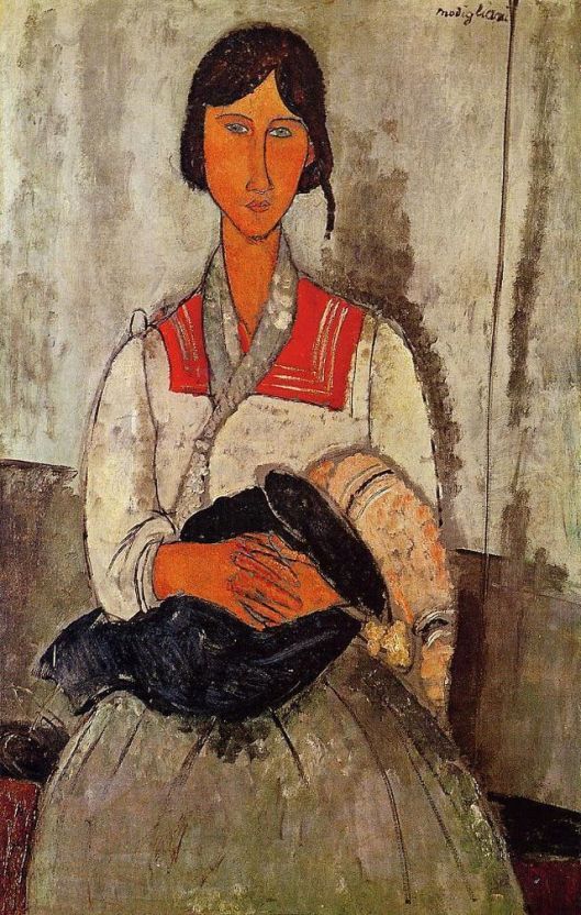 'Gypsy Woman with Baby' 1918 Amedeo Modigliani {{PD}}