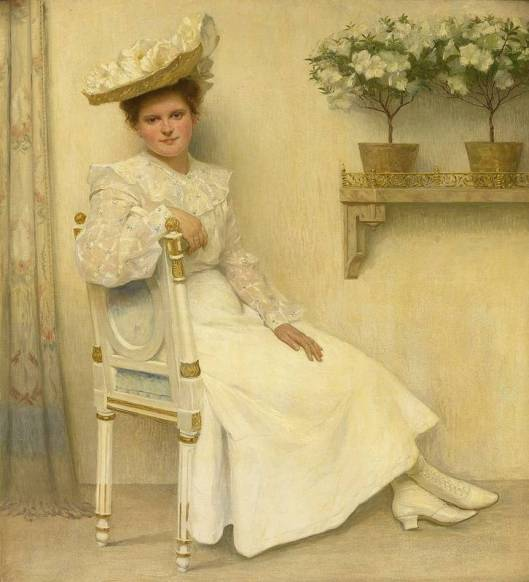 You should be sitting pretty quickly this year, Aquarius. Heinrich Hellhoff - Portrait seiner Tochter Charlotte Testrup auf weiß gefasstem Louis-Seize-Stuhl. 1906  (Portrait of the Artist's daughter, Charlotte Testrup, in white on a Louis XVI chair) {{PD}}