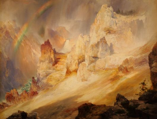 Rainbow over the 'Grand Canyon of the Yellowstone' Thomas Moran {{PD}}
