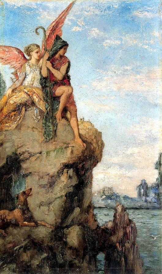 Hesiod and the Muse by Gustave Moreau (1870) {{PD}}