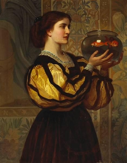 Don't be timid, Pisces. 'The goldfish bowl' Charles Edward Perugini c1870 {{PD}}