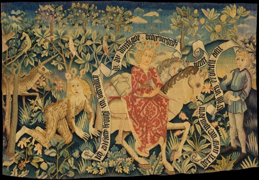 Linen tapestry showing two scenes from Der Busant, a Medieval poem c1485 {{PD}}