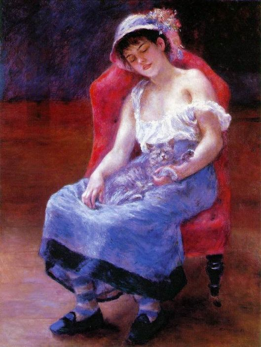 You have a lively year ahead, Pisces--be sure you get plenty of rest. 'Sleeping Girl with a Cat' (1880) Pierre-Auguste Renoir {{PD}}