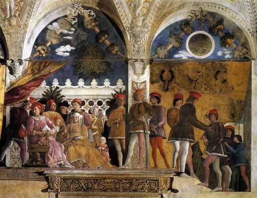 A different kind of Italian court. Andrea Mantegna - 'The Court of Gonzaga' c1470 {{PD}}