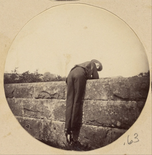 You can easily go over that wall, rather than run into it, Pisces. Unknown photographer 'Man in Hat Bent Over a Stone Wall' silver albumen print c1885 {{PD}}