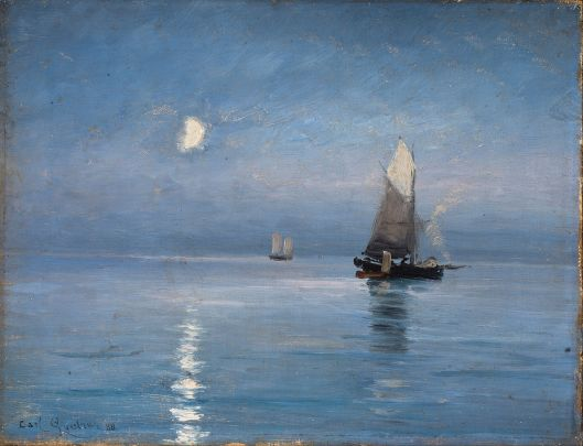 Carl Locher - 'Fishing Cutters in the Moonlit Night' 1887 {{PD}}