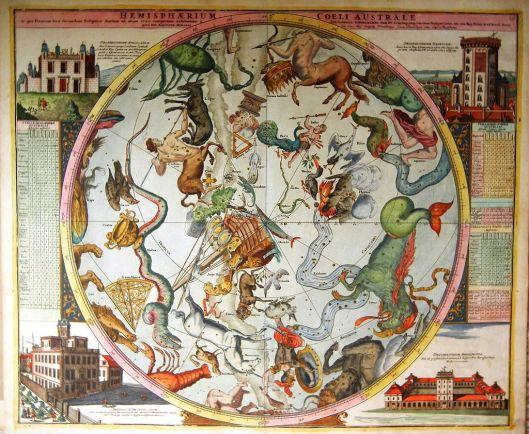 """Johann Doppelmayr's map of the southern celestial hemisphere, c. 1730 titled: """"Hemisphaerium Coeli Australe in quo Fixarum loca secundum Eclipticae ductum ad anum 1730."""" {{PD}} Photo courtesy of Ben Esq"""