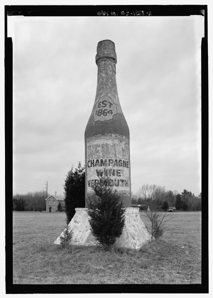 Elevation view of champagne bottle - Renault Winery Champagne Bottle, Route 9, New Gretna, Burlington County, NJ {{PD}}