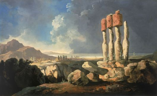 A View of the 'Monuments of Easter Island, Rapanui' by William Hodges 1774 {{PD}}