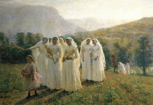 'Young Women Going to a Procession' by Jules Breton c1890 {{PD}}