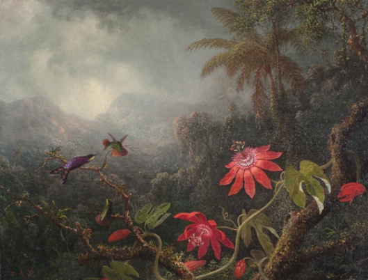 'Passion Flowers with Three Hummingbirds' by Martin Johnson Heade, c1875 {{PD}}