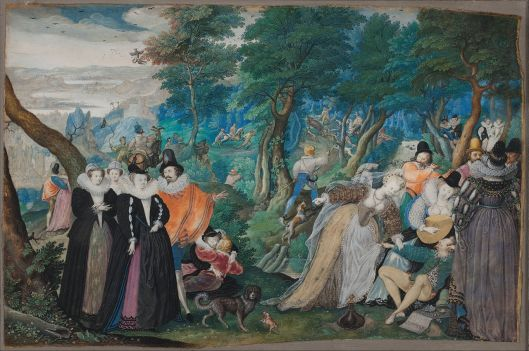 Now that sounds fun.  'A Party in the Open Air: Allegory on Conjugal Love' by Isaac Oliver c1590 {{PD}}