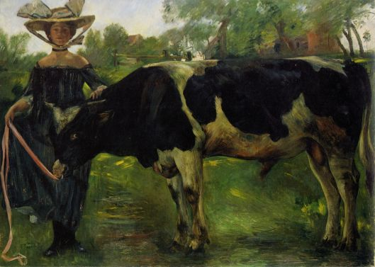 Lovis Corinth 'Mädchen mit Stier' 1902 {{PD}}