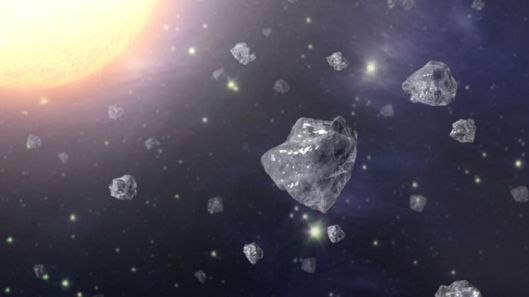 An artist's conception of a multitude of tiny diamonds next to a hot star. (NASA/JPL-Caltech) {{PD}}