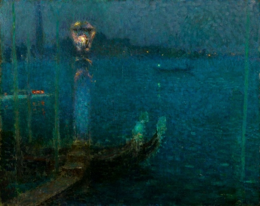 'Le Bec de Gaz - Nuit bleue'  Henri Le Sidaner 1906 {{PD}}
