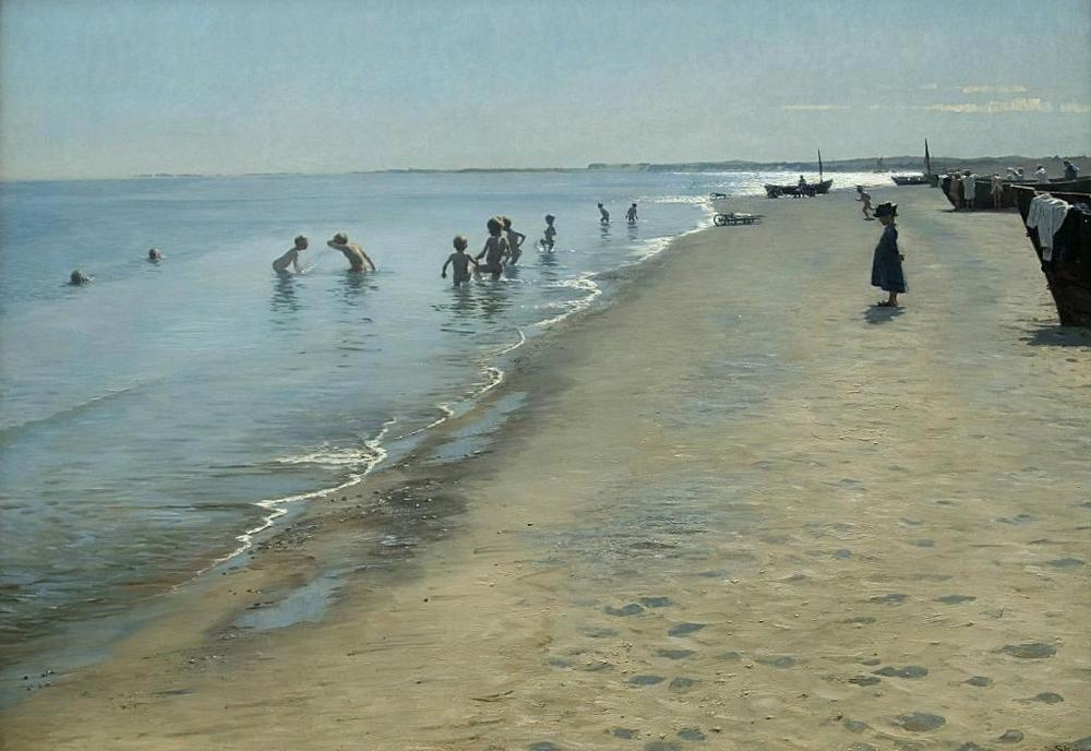 """""""Sommerdag_ved_Skagens_Sønderstrand"""" (Summer day on Skagen's southern shore) P.S. Krøyer 1883 {{PD}}"""
