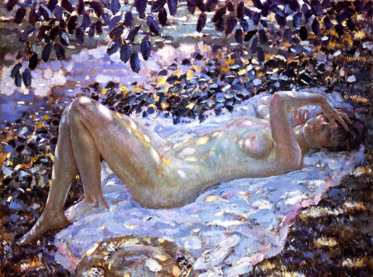 Grab that spotlight, Taurus, even if you're naked! 'Nude in Dappled Sunlight' by Frederick Carl Frieseke 1914 {{PD}}