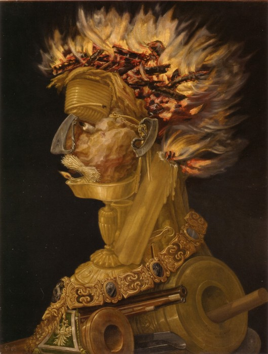 You really do have a passion burning in you, Gemini--it's NOT all in your head! 'The Fire' Giuseppe Arcimboldo 1565 {{PD}}
