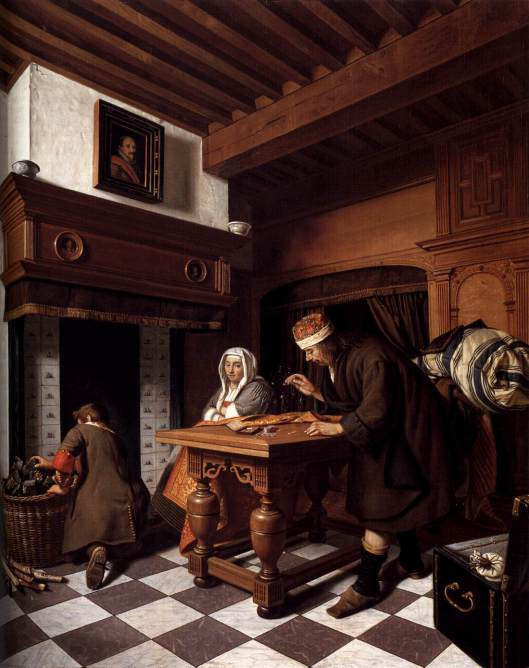 Cornelis de Man,  'A Man Weighing Gold ' c1670 {{PD}}