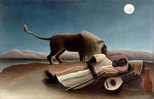 What has become stiff, false, unreal must be awaken and revitalized. Henri Rousseau - 'La zingara addormentata' 1920 {{PD}}
