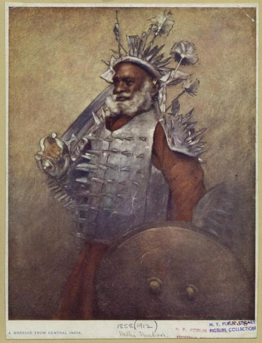 "You may want to be as defensive as this guy, but it'll just lead to grief. 'A warrior from Central India'  1912 15 x 12 cm. (6 x 4 1/2 in.) Notes Written on border: ""Delhi Durbar."" ""1912"" {{PD}}"