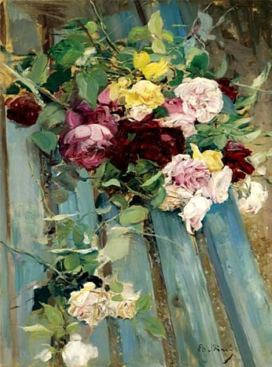 'Still Life with Roses' Giovanni Boldini {{PD}}