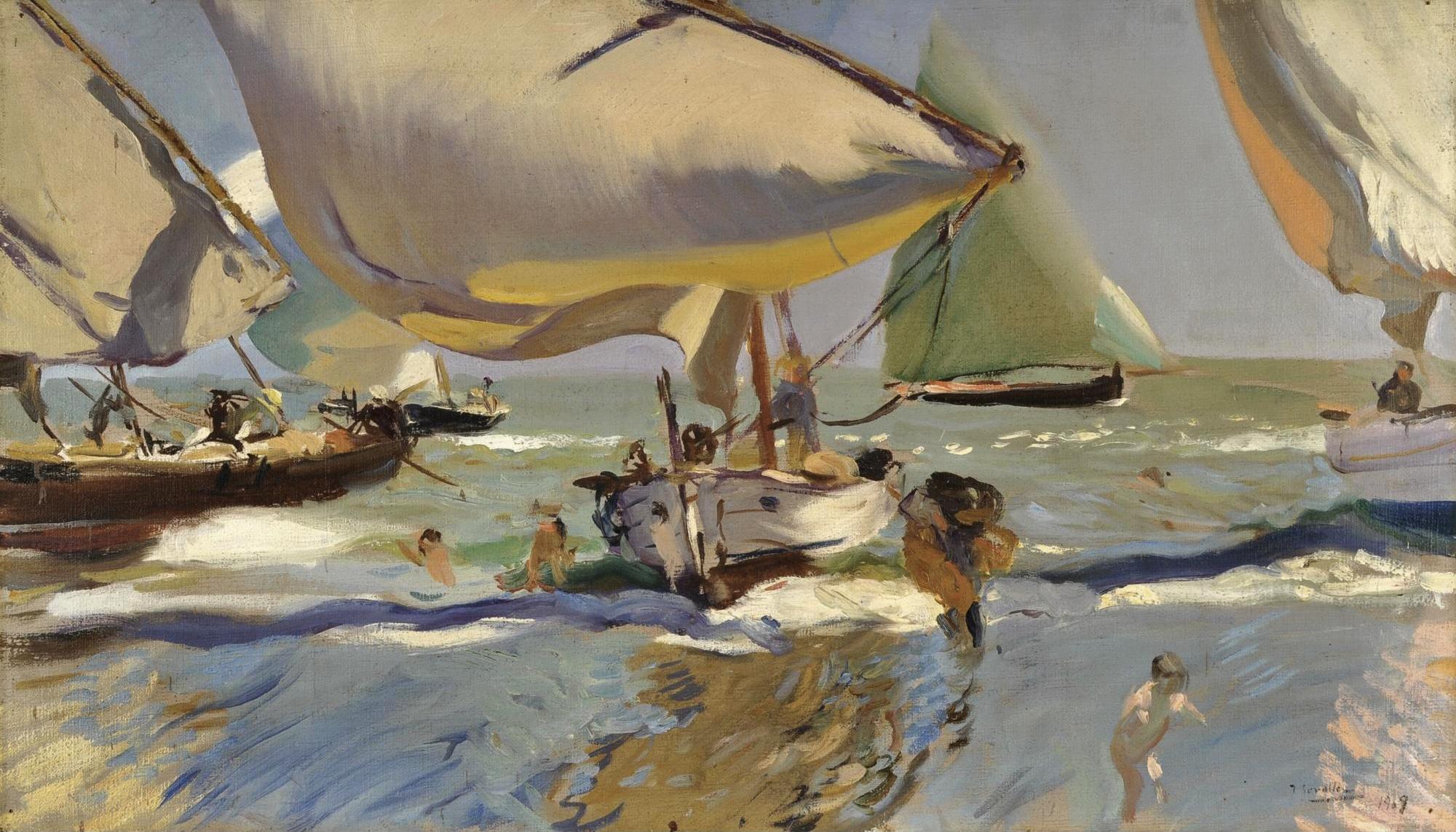 Joaquín Sorolla y Bastida - 'Barcas en la Playa' 1909 {{PD}}