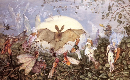 Here's something you don't see every day. 'Fairy Hordes Attacking A Bat' by John Anster Fitzgerald, before 1923 {{PD}}