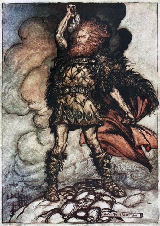 """To my hammer's swing / Hitherward sweep / Vapours and fogs! / Hovering mists! / Donner, your lord, summons his hosts!"" Arthur Rackham  (illustrator) 'The Rhinegold & the Valkyrie'  (1910) {{PD}}"