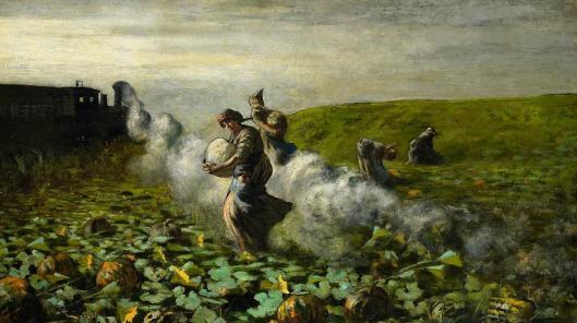 'The Pumpkin Harvest' by Giovanni Segantini {{PD}}