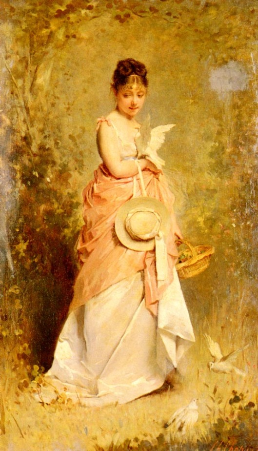 I've been obsessed with doves the past few days--I'm taking it as a symbol for the Lunar event. 'Le Jeune Fille Aux Colombes' 1874 Charles Joshua Chaplin {{PD}}